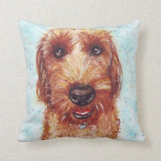 Chester the Jackapoo Watercolour Throw Pillow