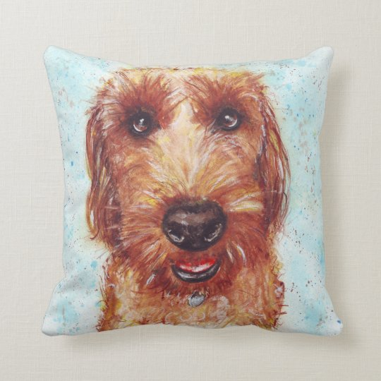 Chester the Jackapoo Watercolour Throw Pillow