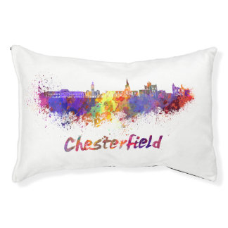 Chesterfield skyline in watercolor pet bed