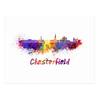 Chesterfield skyline in watercolor postcard
