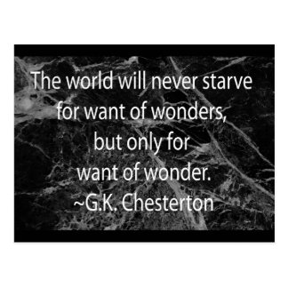Chesterton on Want of Wonder Postcard