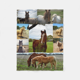 Chestnut And Arab Horses In A Picture Collage, Fleece Blanket