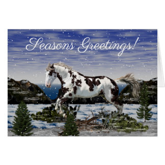 Chestnut and White Paint Horse in Snow Card