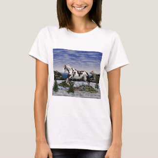 Chestnut and White Paint Horse in Snow T-Shirt