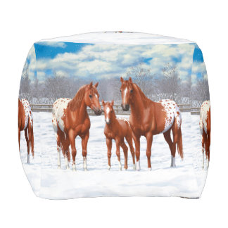 Chestnut Appaloosa Horses In Snow Pouf