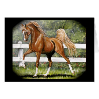 Chestnut Arabian Horse Running Card