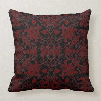 Chestnut Brown and Black Flourishes Throw Pillow