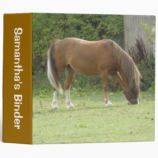 Chestnut Brown Horse Grazing Custom Binder