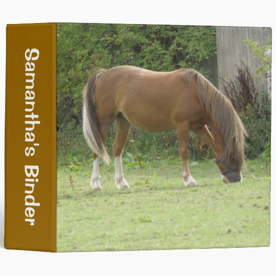Chestnut Brown Horse Grazing Custom Binder