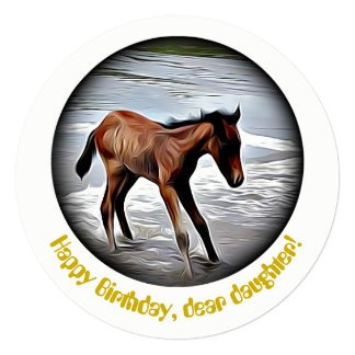 Chestnut Foal Playing in the Ocean birthday card