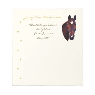 Chestnut Horse Portrait with White Star Notepad