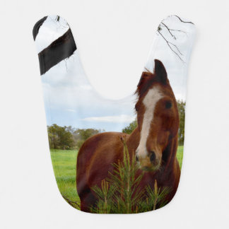 Chestnut Horse Sniffing A Banksia Tree, Bib