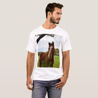 Chestnut Horse Sniffing A Banksia Tree, T-Shirt