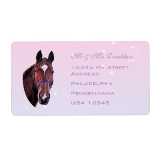 Chestnut Horse with White Star Shipping Label