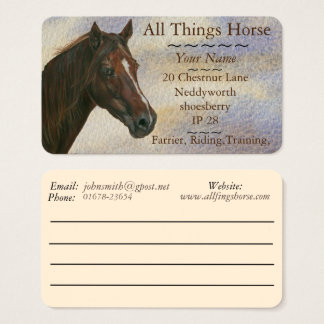 chestnut mare horse art equestrian farrier equine business card
