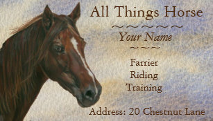 Farrier business cards business card printing zazzle ca chestnut mare horse art equestrian farrier equine business card colourmoves