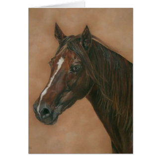 Chestnut mare horse portrait equine art painting card