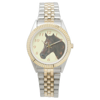 Chestnut mare horse portrait equine art painting watches