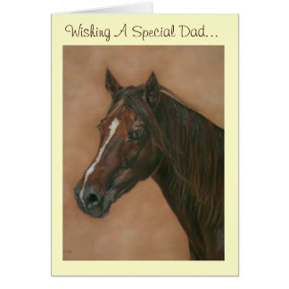 Chestnut mare horse portrait equine dad art card