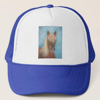 chestnut mare with blonde mane equine art horse trucker hat