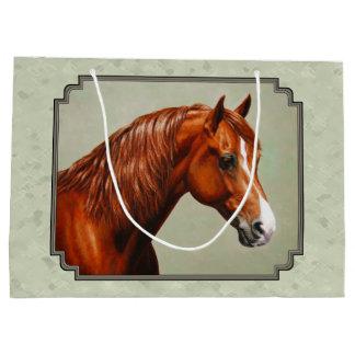 Chestnut Morgan Horse Sage Green Large Gift Bag