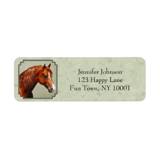 Chestnut Morgan Horse Sage Green Return Address Label
