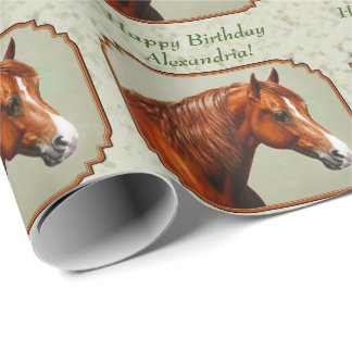 Chestnut Morgan Horse Sage Green Wrapping Paper
