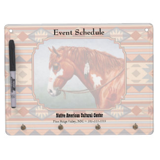 Chestnut Pinto Horse Southwest Indian Design Dry Erase Board With Keychain Holder