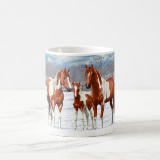 Chestnut Pinto Horses In Snow Coffee Mug