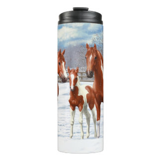 Chestnut Pinto Horses In Snow Thermal Tumbler
