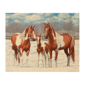 Chestnut Pinto Horses In Snow Wood Print