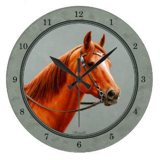 Chestnut Sorrel Quarter Horse Sage Green Large Clock