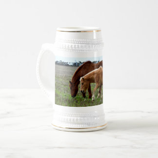 Chestnut Winter Woolly Horses, Beer Stein