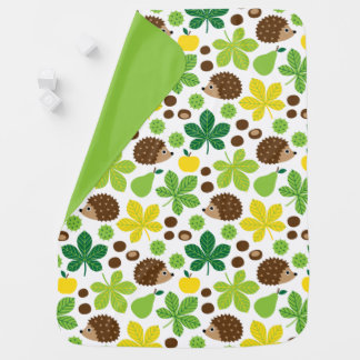 Chestnuts & Hedgehog Seamless Pattern Baby Blanket