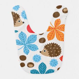 Chestnuts & Hedgehog Seamless Pattern Bib