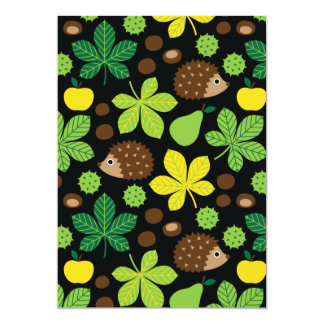 Chestnuts & Hedgehog Seamless Pattern Card