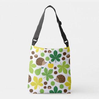 Chestnuts & Hedgehog Seamless Pattern Crossbody Bag