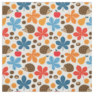 Chestnuts & Hedgehog Seamless Pattern Fabric