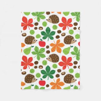 Chestnuts & Hedgehog Seamless Pattern Fleece Blanket