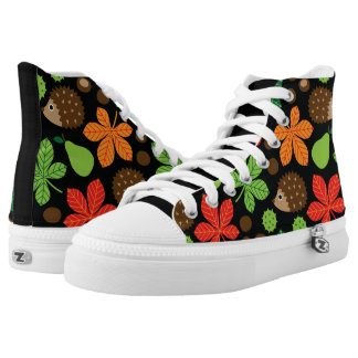 Chestnuts & Hedgehog Seamless Pattern High Tops