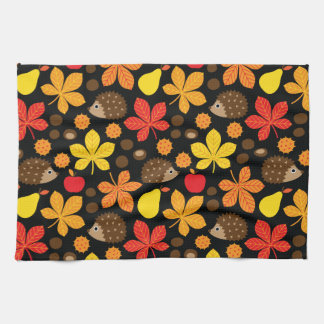 Chestnuts & Hedgehog Seamless Pattern Kitchen Towel