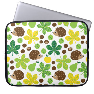 Chestnuts & Hedgehog Seamless Pattern Laptop Sleeve