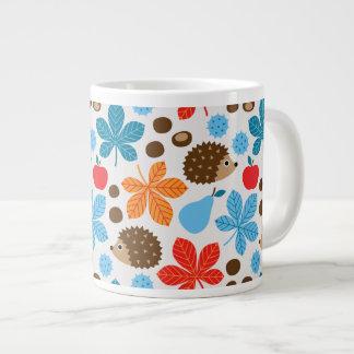 Chestnuts & Hedgehog Seamless Pattern Large Coffee Mug