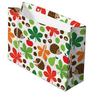 Chestnuts & Hedgehog Seamless Pattern Large Gift Bag