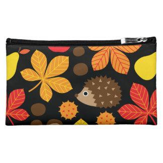 Chestnuts & Hedgehog Seamless Pattern Makeup Bag
