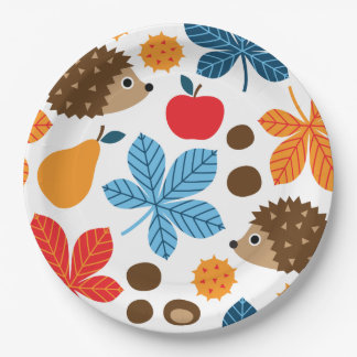 Chestnuts & Hedgehog Seamless Pattern Paper Plate