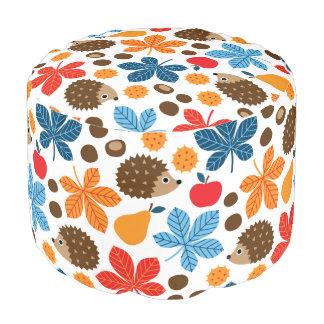 Chestnuts & Hedgehog Seamless Pattern Pouf