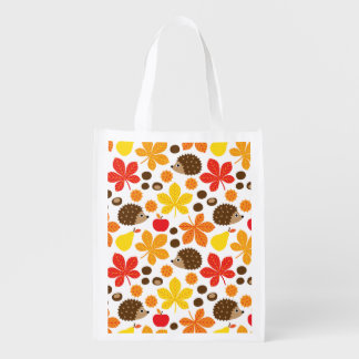 Chestnuts & Hedgehog Seamless Pattern Reusable Grocery Bag