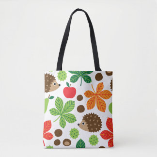 Chestnuts & Hedgehog Seamless Pattern Tote Bag
