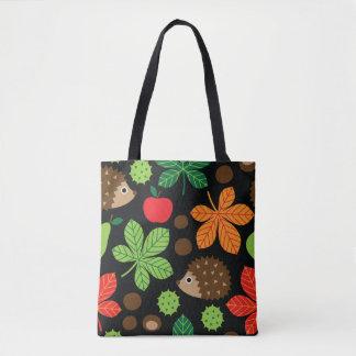 Chestnuts & Hedgehog Seamless Pattern Tote Bag
